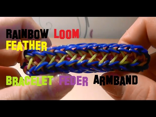 Rainbow Loom Feather Bracelet Feder Armband DIY Deutsch