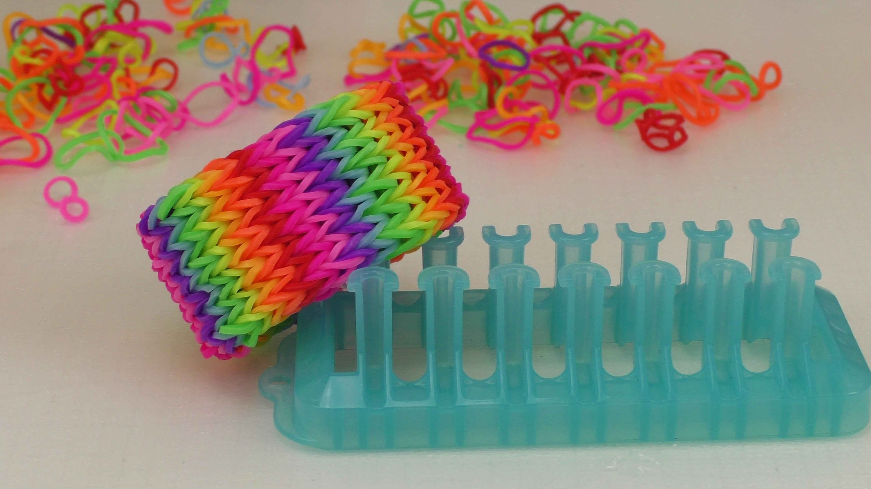 Alpha Loom: 7-fach Single Regenbogen-Armband | Muster Rainbow Loom