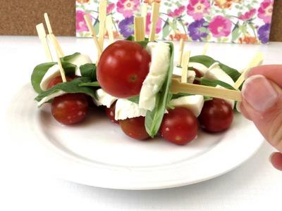 Tomate Mozarella Spieße mit Basilikum - mediterranes Fingerfood für die nächste Grillparty Anleitung
