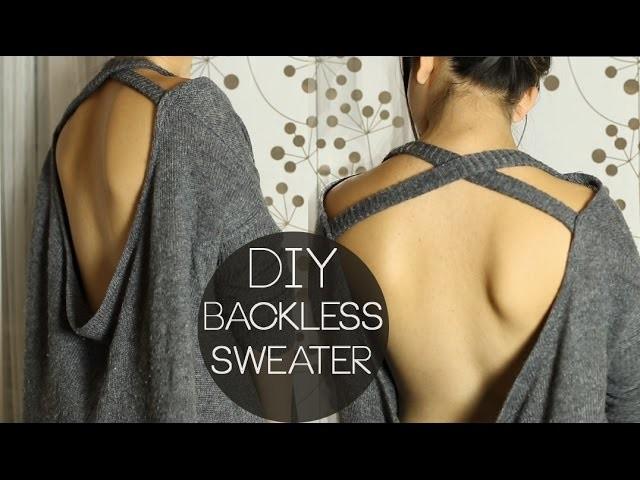 diy backless shirt pullover r ckenfreier pullover aus alt mach neu. Black Bedroom Furniture Sets. Home Design Ideas