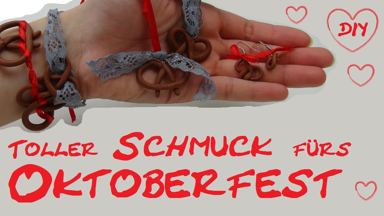 DIY Oktoberfest Schmuck selber machen - do it yourself Brezel Anhänger aus Fimo