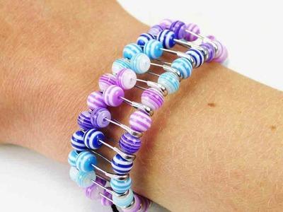 DIY Perlen Armband | Buntes Armband mit Sicherheitsnadeln selber machen | Freundschaftsband