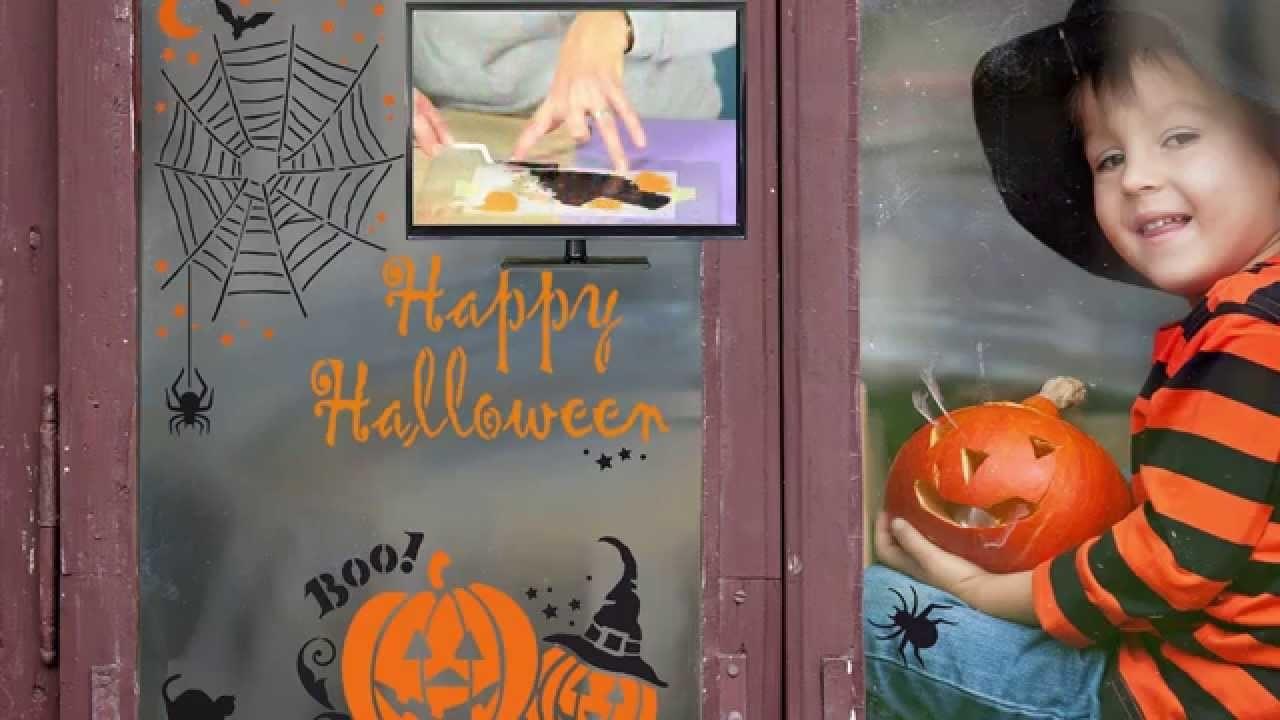 DIY Halloween Fenster und Glas gestalten mit Schablonen