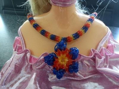 DIY Loom Bands Rainbow Schmuck Halskette, Collier, Kette mit Blume, Flower, Anleitung