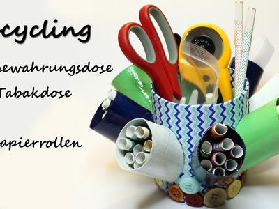 DIY Upcycling: Aufbewahrungsdose aus Tabakdose und Klopapierrollen   kreativBUNT