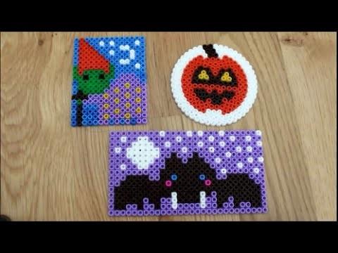 DIY: Halloween Special: Bügelperlen Glasuntersetzer 3 Motive Fledermaus, Kürbis, Hexe