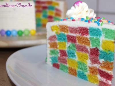 Regenbogentorte | bunte Schachbretttorte | Azo-freie DekoBack Farbe | rainbow cake | checkerboard