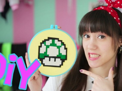 DIY | 1-Up-Pilz Stickrahmen | Super Mario