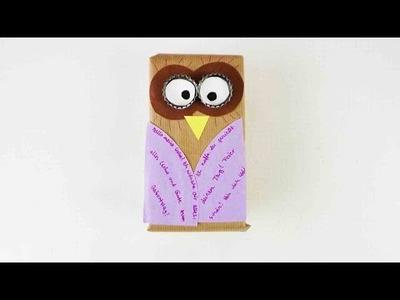 DIY Eule als Geschenk zum Geburstag | Originell verpackte Überraschung mit einer Eule | DIY Owl