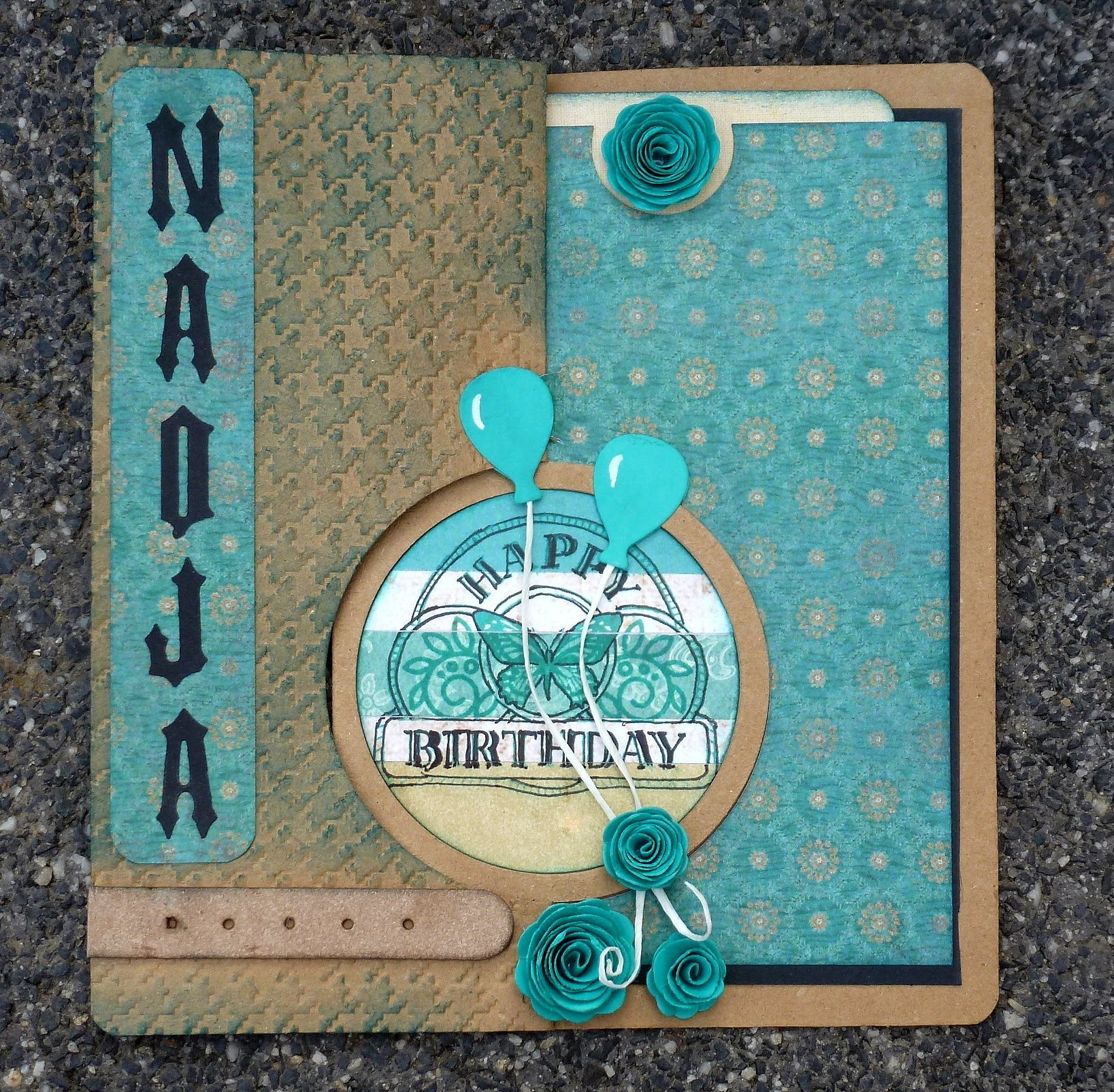 Spiral circle pull card Elizabeth craft design