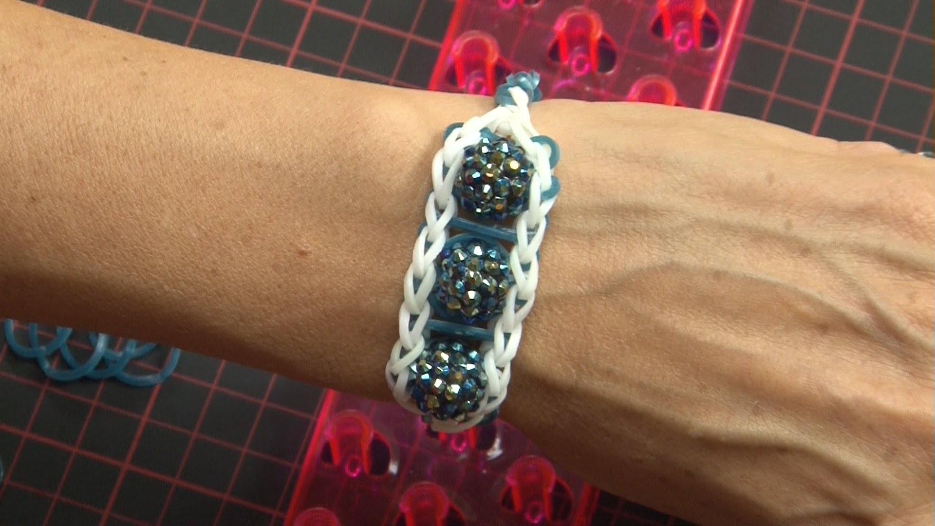 Ideen mit Herz - Loom Bänder - Armband Idee Nr. 3 (mit Webrahmen & Kristall-Perlen)