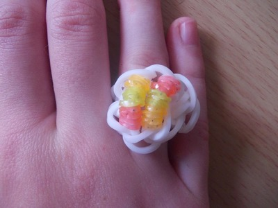 Rainbow Loom Bands Anleitung deutsch - Perlenring - Rubber Bandz Ring tutorial