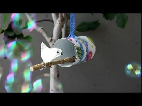DIY: Papiervogel aus Buchseiten genäht mit Vogelhaus. sewed paper bird book pages