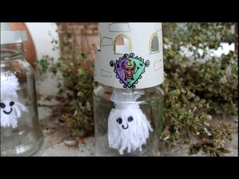 DIY: Halloween Special: Geist aus Wolle im Glas ♥ Gespenst basteln ☺ selber machen