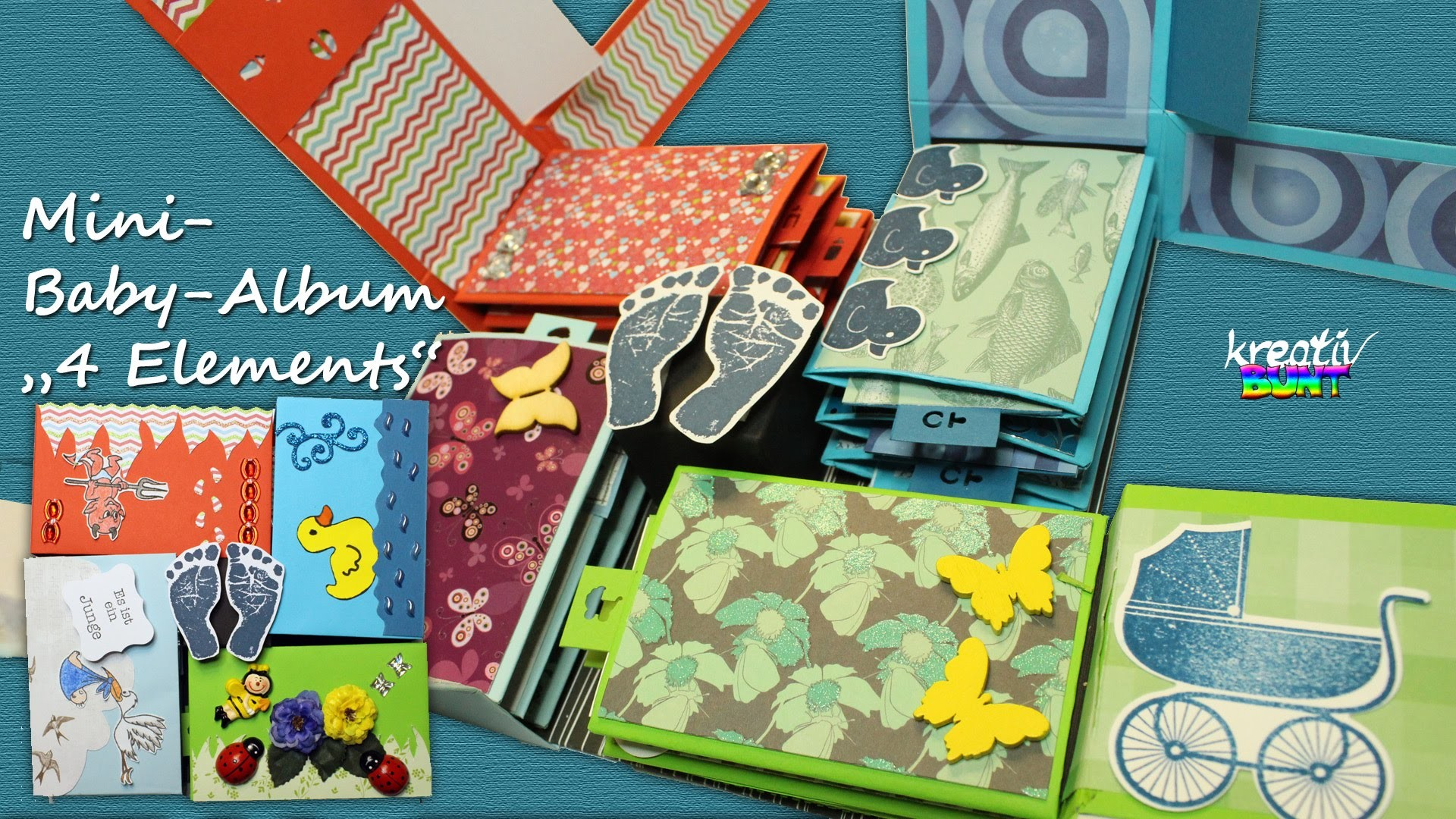 "DIY Scrapbook Tutorial: Mini-Album. Baby-Album ""4 Elements"" 