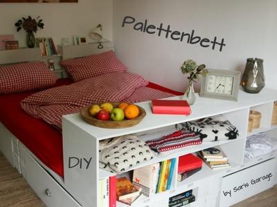 Bett aus Europaletten. Mit Schubladen und Ablageflächen. DIY.