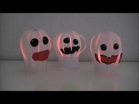 DIY: Halloween Special Deko Geister. Gespenster aus Papierstreifen