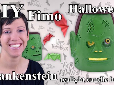 FIMO Frankenstein: Polymer Clay Halloween Tealight - Tutorial [HD.DE] (EN-Sub)