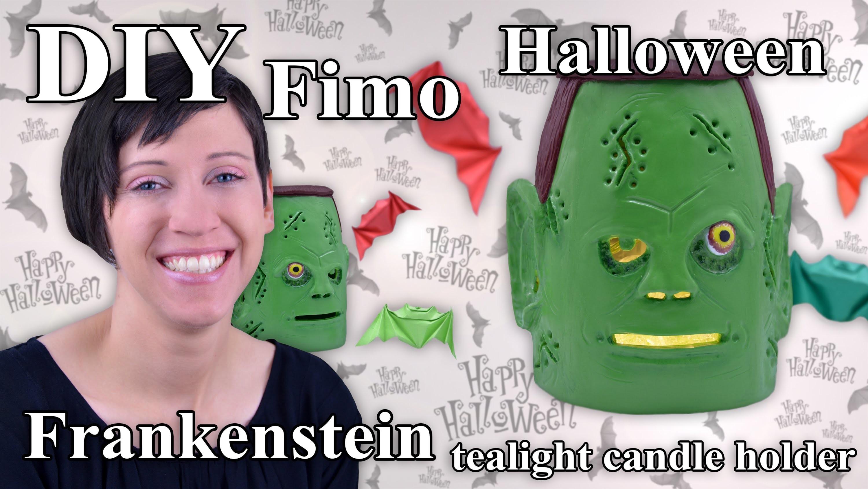 FIMO Frankenstein: Polymer Clay Halloween Tealight - Tutorial [HD.DE] (EN-Sub)