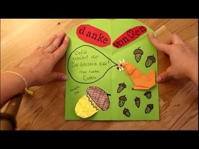 DIY: Pop Up Karte mit Origami Eichhörnchen und Kawaii Eicheln basteln