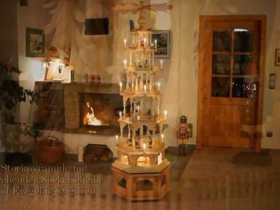 Seiffener Weihnachtshaus Weihnachtspyramide 6 Stock Erzgebirgsfiguren mit drehender Sockelscheibe