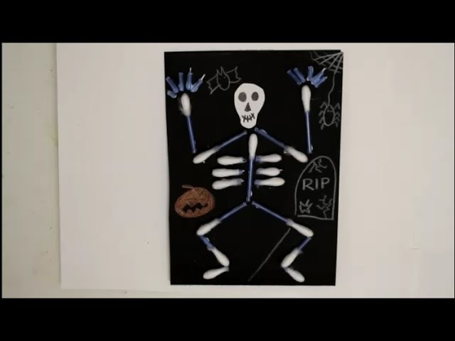 DIY Halloween Special Einladungskarten Skelett aus Wattestäbchen basteln *für Kinder*