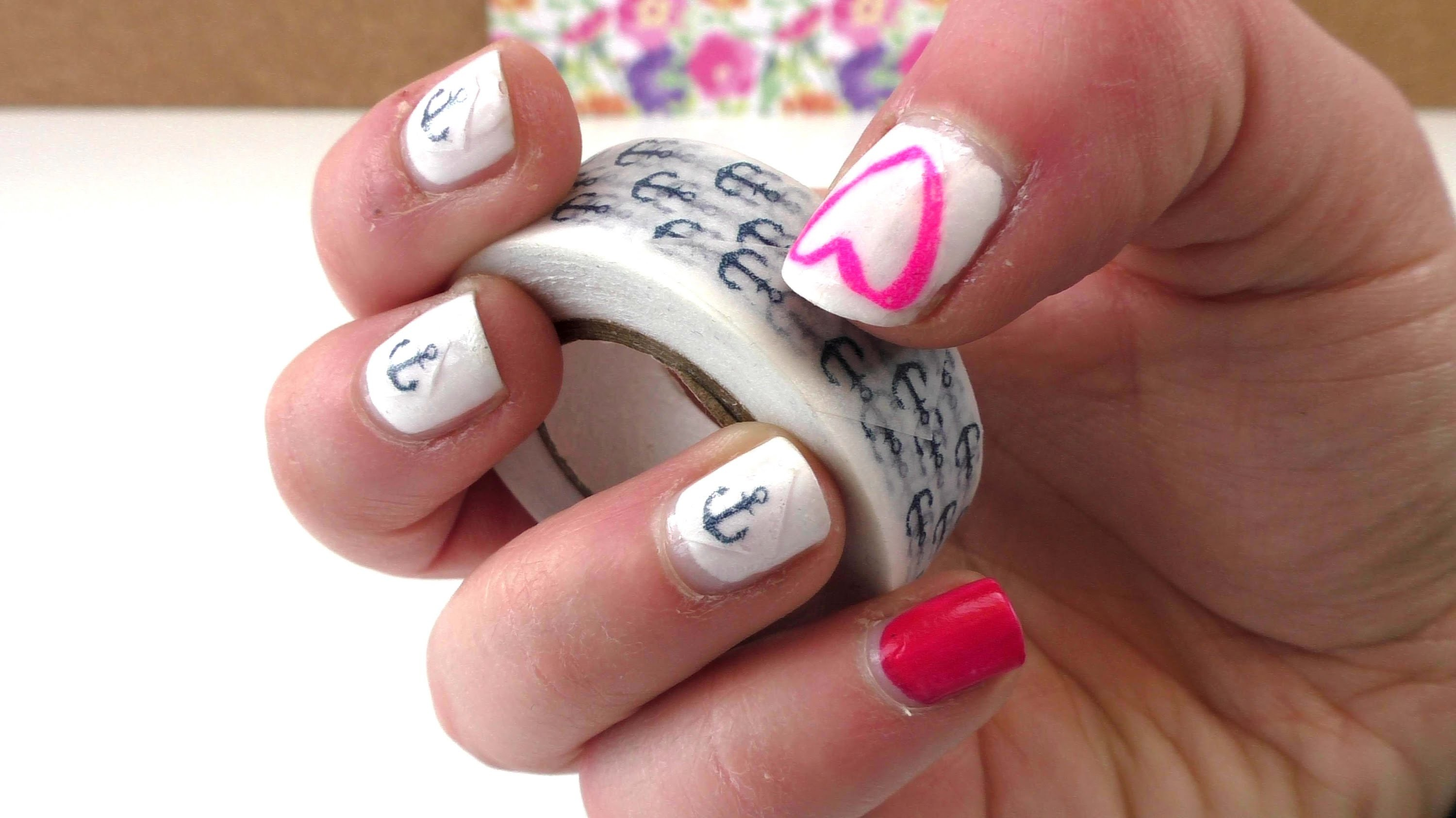 Nail Design mit Washi Tape - selber machen DIY Fingernägel. Washi Tape Ideen. Nageldesign