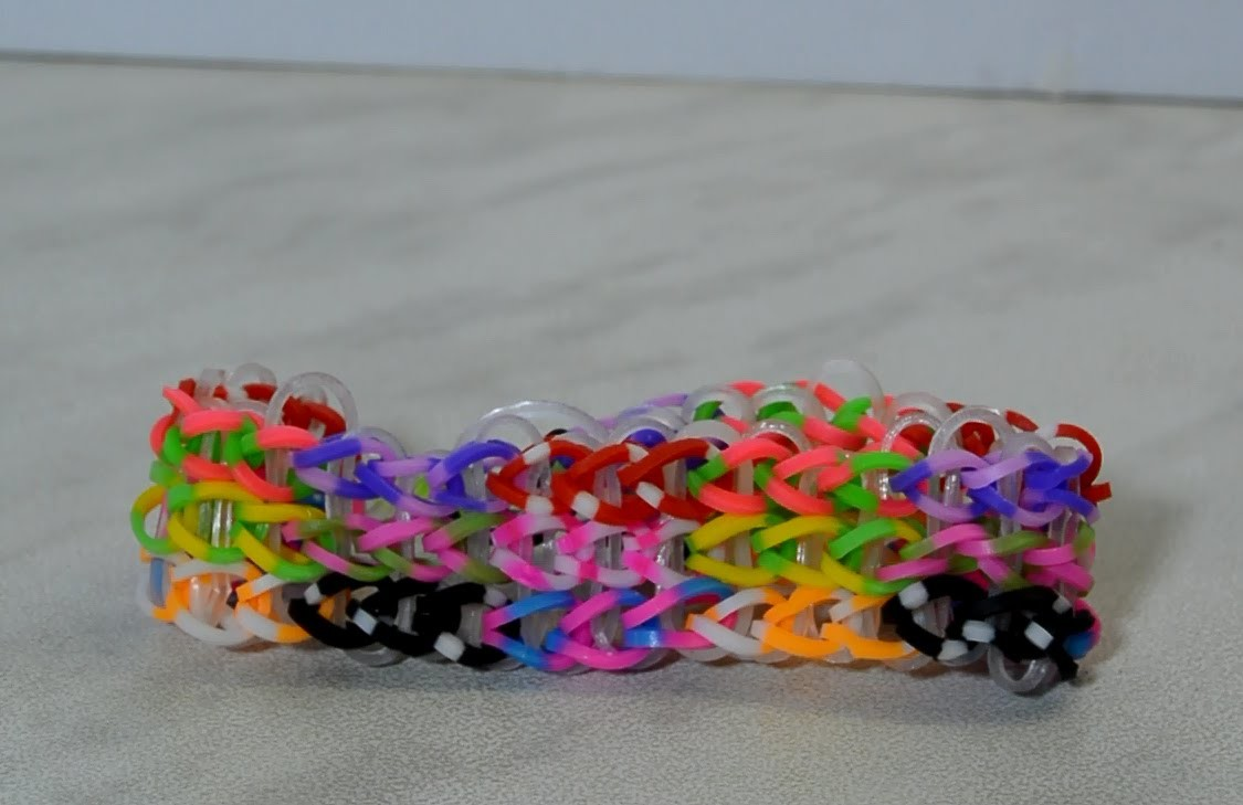 Rainbow Loom Triple Single Bracelet On Two Forks- Super Easy DIY