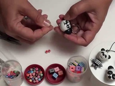 (Tuto) Panda aus Fimo u. Perlen, Polymer Clay