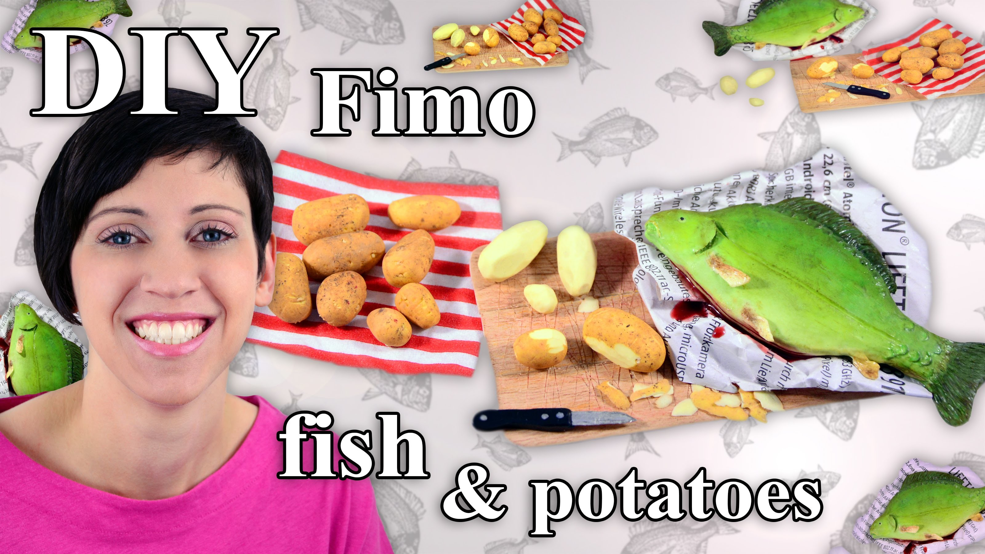 FIMO Fisch & Kartoffeln: Polymer Clay Fish & Potatoes - Tutorial [HD.DE] (EN-Sub)