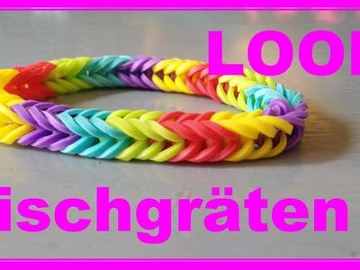 Einfaches Loom Armband mit Fischgräten - Rainbow Loom