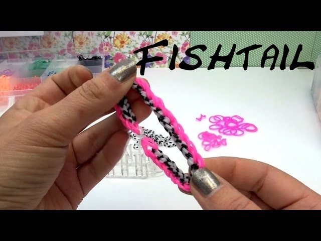 Rainbow Loom Fishtail Bracelet. 2 Farbiges Fischgrät Armband ganz einfach selber machen | deutsch