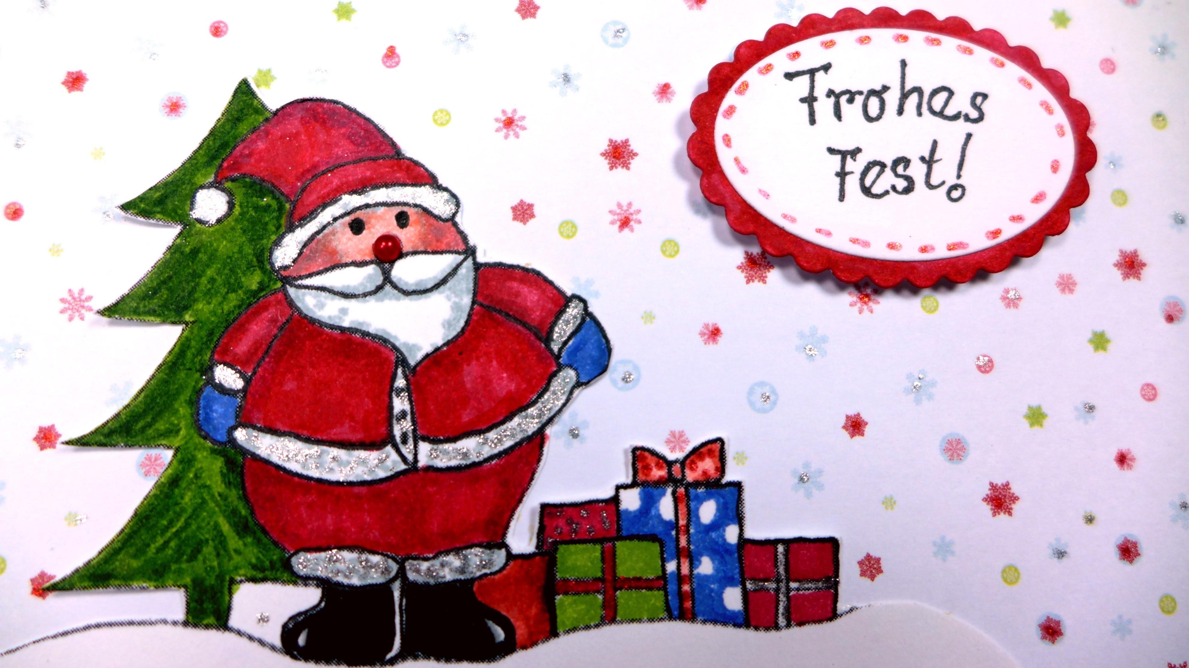 Weihnachtsgrußkarte Weihnachtsmann basteln DIY
