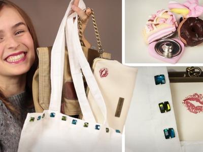 DIY Taschen verzieren - Strass, Buttons, Tattoos - Pimp your Bag - Jutebeutel, Rucksack, Ledertasche