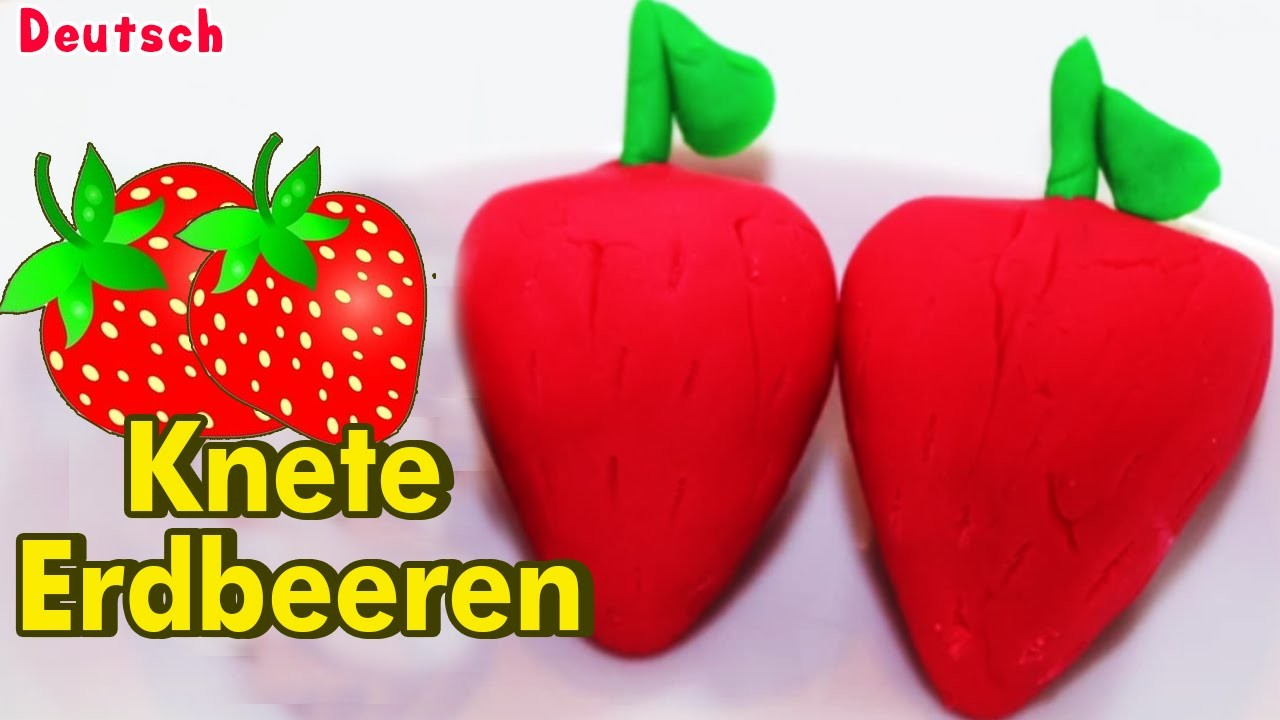 Knete Erdbeeren| Wie, um eine einfache Knete Erdbeeren basteln für Kinder