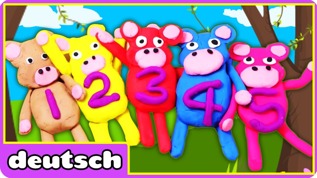 5 kleine Affen aus Knete | Play doh 5 Little Monkeys | DIY Playdoh Creation by HooplaKidz Deutsch