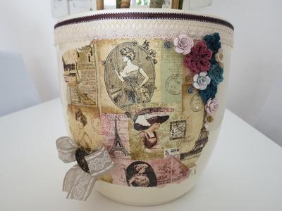 Blumentopf verschönern * DIY im Shabby Look