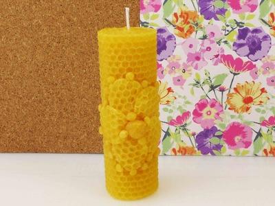 DIY Kerze aus Bienenwachsplatten | Blumen Motiv | tolle Geschenkidee selber machen