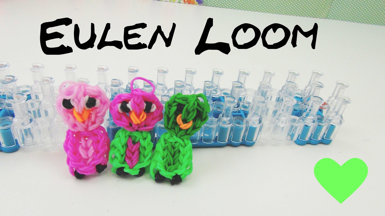 Loom Bands Eule auf deutsch m Loom Board selber machen | How To make a rainbow loom owl charm