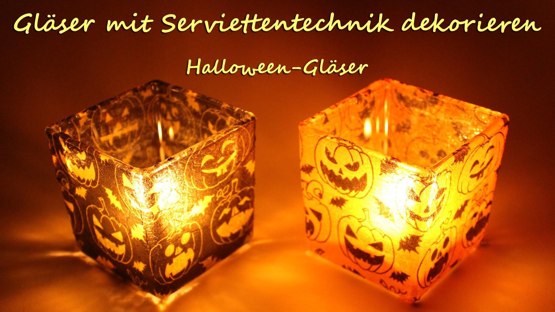DIY: Gläser mit Serviettentechnik dekorieren - Spukige Teelichter zu Halloween | kreativBUNT
