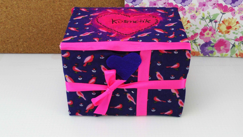 aufbewahrungsbox f r kosmetik oder als geschenk box selber gestalten mit stoff. Black Bedroom Furniture Sets. Home Design Ideas