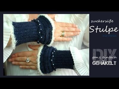 Süße Stulpe aus Sockenwolle mit Perlen ganz einfach selber gehäkelt [DIY]