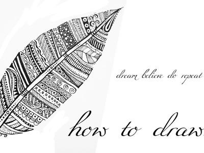 DIY Tutorial ♥ Black & White Mandala Zentangle ♥ FEATHER | FEDER
