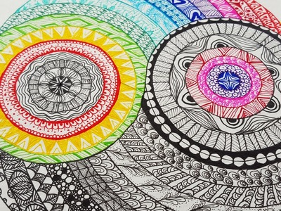 DIY ♥ Ying Yang ♥ how to draw a colorful Zentangle [ timelapse ]
