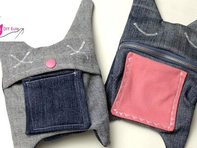 DIY Eule: Hasentäschchen aus alten Jeans nähen