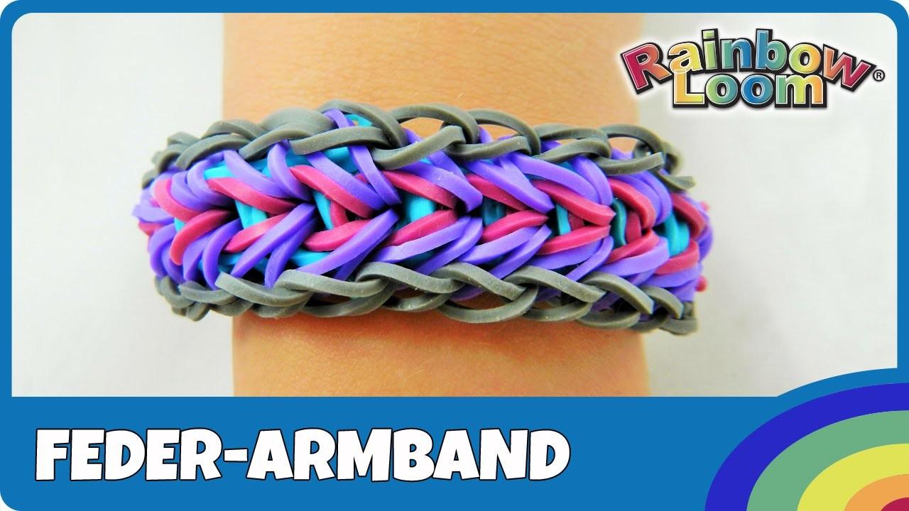 Rainbow Loom Feder Armband - deutsche Anleitung