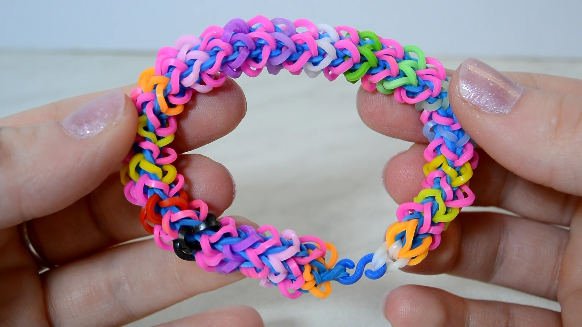Rainbow Loom Quadzilla Bracelet With Two Forks without Loom-DIY