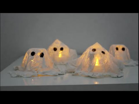 DIY: Halloween Special Geister aus Reliefgiessmasse. Windlichtgeister basteln