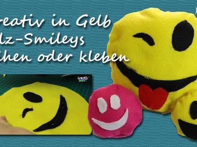 DIY: Kreativ in Gelb: Filz-Smileys basteln (Nähen oder Kleben) | kreativBUNT