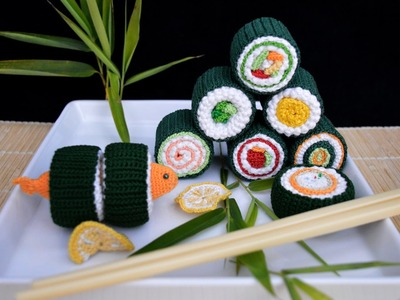 Sushi, crochet Food, HÄKELN   寿司